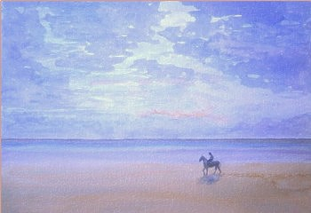 watercolour beach horse