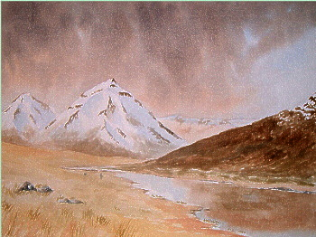 watercolour mountains scotland