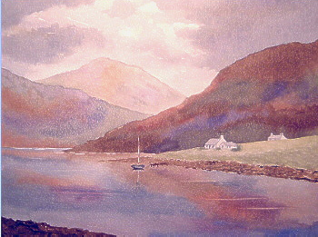 watercolour loch cottage