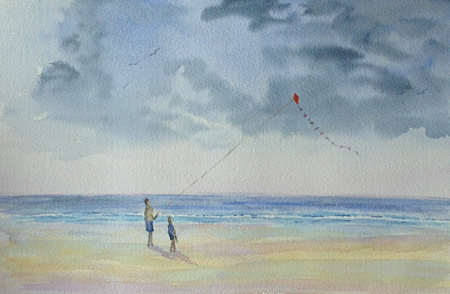 kite flying on beach in watercolour