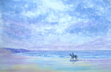 Horse on beach in watercolour