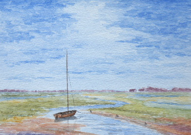 watercolour painting, Boat on Solway