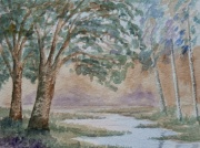 watercolour painting, trees
