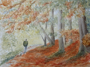 watercolour painting, Autumn Walk
