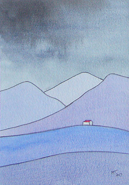 watercolour painting, Scottish Highlands